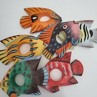 Set of 6 wood carved & hand painted fish napkin rings/holders colorful