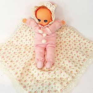 Baby Girl Doll Lovey Security Blanket Pink Made in Japan Vintage 1950s 50s