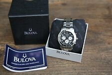 Bulova Mens Watch Luxury Wrist Watch Silver Stainless Steel Band 8 Diamonds