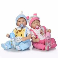 "Twins Reborn Baby Dolls Lifelike Preemie Baby 16"" Boy+Girl Great Gifts for Kids"