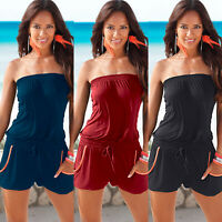 Women Bandeau Strapless Playsuit Summer Mini Shorts Dress Jumpsuit Casual Romper
