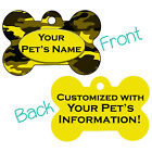 Yellow Camo Double Sided Pet Id Dog Tag Personalized for Your Pet