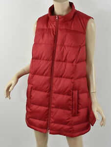 J. JILL Red Quilted DOWN PUFFER SIDE-SNAP VEST Zip-Front Insulated Jacket 1X