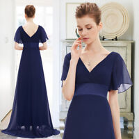 Ever-pretty UK Long V-Neck Bridesmaid Prom Gown Navy Blue Evening Dresses 09890