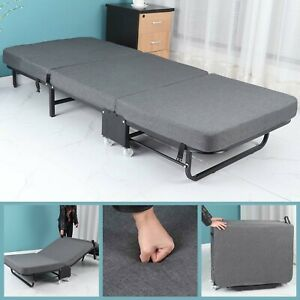 ELVg Bed Folding Mattress Twin Foam Frame Roll-Away Camping Cot Portable Guest Travel Practical