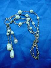 Signed 1928 Gold Tone Chain with Faux Pearls Faceted Crystal Necklace   #1436