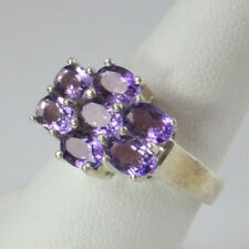 AMETHYST  7 STONE RING, STAMPED .925