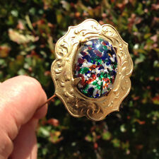 Hatpin With Arlequin Multicolor Glass Opal Cabochon - Gold Finish - 8 Inch