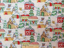 Holiday Express Christmas Village Snow Winter Cotton Fabric  BTY (A1) #