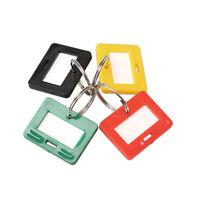 100Pcs Plastic Keychain Key Tags 5 Style ID Label Name Key Tags Split Ring P4PM