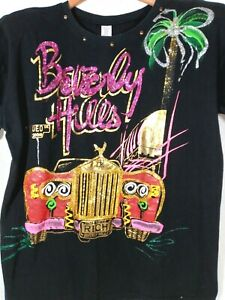 Vintage One Size Beverly Hills T-Shirt Rolls Royce Glitter Colorful USA