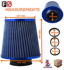 BLUE K&N TYPE UNIVERSAL FREE FLOW PERFORMANCE AIR FILTER & ADAPTERS - VA-2