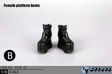 ZY Toys 1:6 Figure Accessories Female Platform Boots Black ZY-16-25A