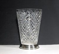 Hawkes Delft Diamond Cut Glass Vase with Sterling Base