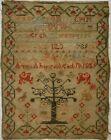 MID 19TH CENTURY ADAM & EVE, MOTIF & ALPHABET SAMPLER BY ANN AHERS AGED 10 1859