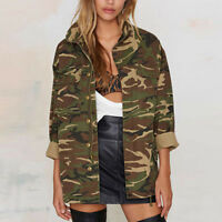 New Womens Vintage Camouflage Coat Casual Camo Long Sleeve Loose Jacket Outwear