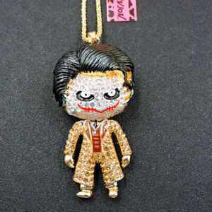 Hot Gold Rhinestone Cute Enamel Joker Crystal Pendant Betsey Johnson Necklace