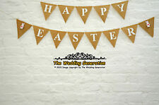 Happy Easter Bunny Burlap Bunting Hessian Banner Garland Party Felt White