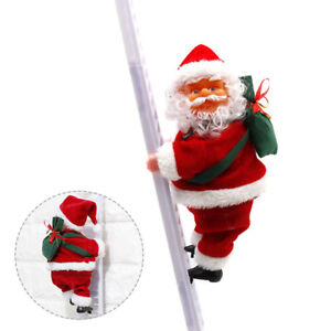 Musical Electric Santa Claus Climbing Ladder Toys Christmas Hanging Ornament