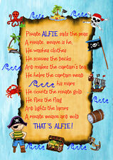 A PERSONALISED POEM FOR YOUR FAVOURITE LITTLE PIRATE PRINTED ON A4 CANVAS PAPER.