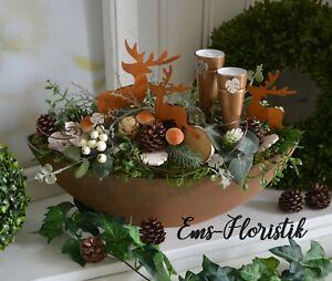 🌷 Tischgesteck Herbst Schiffchen in Rostoptik 40 cm Hirsche