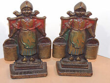 Cast Iron Dutch Milkmaid Book ends Over 6 inches (11884)