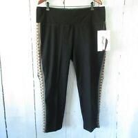 New Women With Control Jeans 1X Petite Black Pull On Embroidered Ankle Crop