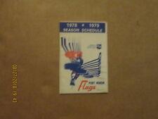 IHL Port Huron Flags Vintage Defunct Circa 1978-1979 Logo Hockey Pocket Schedule