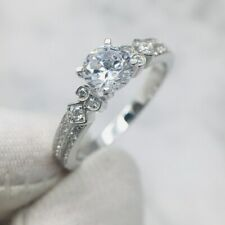 1.00 Ct Round Moissanite Vintage Solitaire Engagement Ring 14K White Gold Plated