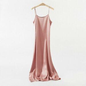 Women's 100% Pure Silk Full Slips Long Chemise Nightie Sleepwear Size L Pink