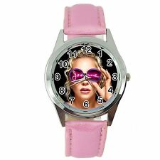 LADY GAGA JOANNE  MUSIC STAR SINGER S Steel PINK LEATHER BAND ROUND CD WATCH