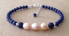 Lapis Lazuli+Pale Pink CFW Pearls, Sterling Silver, Beaded Friendship Bracelet