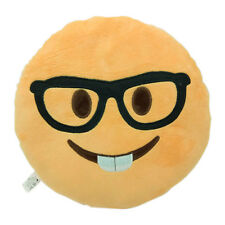 Nerd Face Emoji Pillow Emoticon Cushion Yellow Plush Doll Toy Gift 32cm