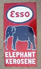 original antique heavy porcelain sign advertising Esso Elephant Kerosene