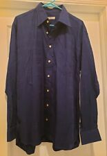 BURBERRY LONDON Blue Long Sleeve Shirt Size Large MADE IN USA