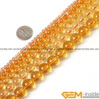 "Yellow Citrine Clear Crystal Quartz Gemstone Round Jewelry Making Beads 15"" YB"
