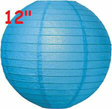 """12 Blue 12"""" Paper Chinese Lantern Lamp Shade Wedding Party Decoration Supplies"""
