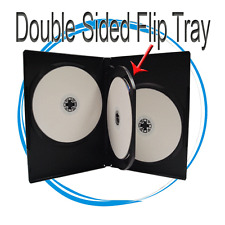 10 Standard 14mm Quad Multi Hold 4 CD DVD Disc Black Movie Storage Case Box