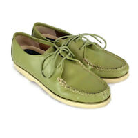 Vintage Sperry Womens sz 9 M Green Leather Topsider Lace Up Boat Shoes