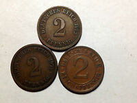LOT OF 3 GERMANY 1874-A, 1912-D , 1924 TWO REICHSPFENNIG HIGH GRADE COINS