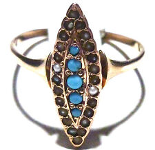 VICTORIAN 14K YELLOW GOLD SEED PEARL PERSIAN TURQUOISE ESTATE RING SIZE 6.75