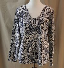 Liz Claiborne, Large, Stripe it Rich, Tan Multi Paisley Top, New with Tags