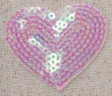 Iron-On Applique/Embroidered Patch - Valentines Light Pink Sequin Heart - Medium