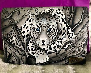 Anuschka Hand Painted Leather Crossbody Organzier Wallet-Snow Leopard