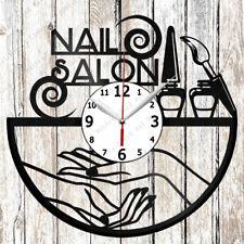 Nail Salon Vinyl Wall Clock Made Of Vinyl Record Original gift 2043
