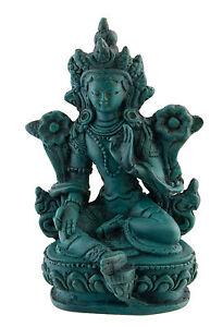 Statua Di Tara IN Resina Dea Buddista Tibetano Turchese 9.5 CM 3146
