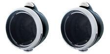 Pair Guide Style Black & Chrome Headlight Lamp Buckets LED Clear Turn Signal