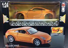 2006 Maisto Orange Nissan 350Z 1:24 Die Cast Metal Model Car Kit Custom Wheels