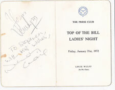 Vera Lynn Wendy Craig Autographed Press Club Menu 1972 WWII