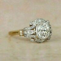 1.85 Ct Round Diamond Vintage Bezel Engagement Ring Tow Tone 14K Gold Over